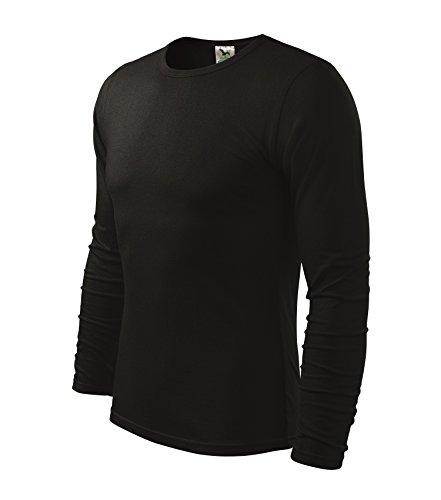 Herren Langarmshirt 100% Baumwolle T-Shirt Marke Adler - Größe und Farbe wählbar - (XXL, schwarz) (T-shirt Jersey Baumwolle 100%)