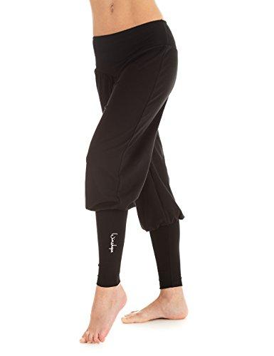 Winshape Damen Fitness Freizeit Sport Yoga Pilates Trainings und Manschettenhose, Schwarz, L, WH6