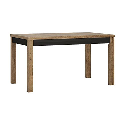 P&N Homewares Laken Table à Manger Extensible en Noir en chêne foncé   Large 6 à 8 Places Cuisine, Salle à Manger, etc.   Design Moderne   140/160 cm de Large