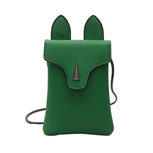Bluestercool Borsa Donna Pelle Piccola Borse a Spalla Modello Volpe Verde