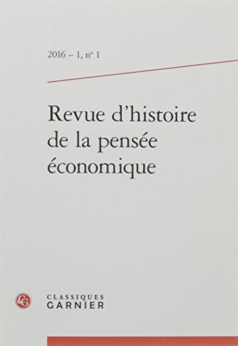 Revue d'histoire de la pensée économique, N° 1/2016 :