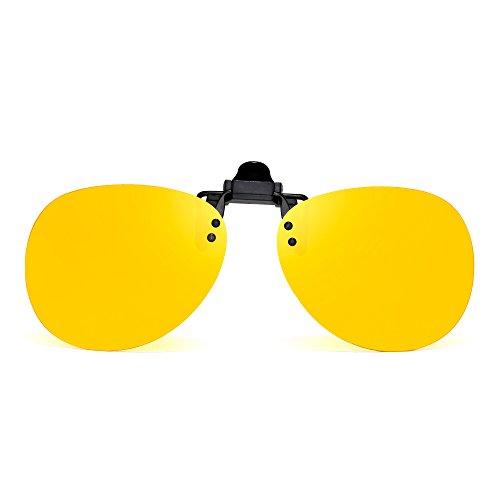 Retro Clip auf Randlos Flieger Sonnenbrille Polarisiert Flip up Linsen Brillen Herren(Polarisiertes Gelb)