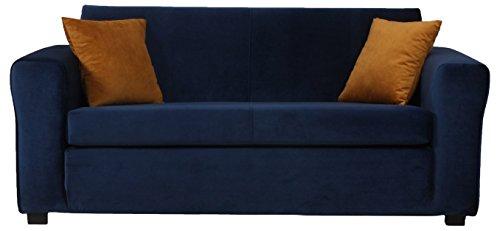 CANAPES TISSUS Trend Canapé Fixé, Velours, Bleu, 171 x 84 x 71 cm