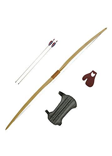 Bogeschützenset beidhändiger Langbogen 60 Zoll inklusive Sehne mit 2 Pfeilen, Tab und Armschutz 20 oder 30 lbs - Mittelalter - LARP - Wikinger Bogen (20 lbs)