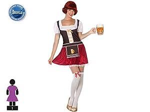 Atosa-52405 Atosa-52405-Disfraz Alemana Terciopelo-Adulto XL-Mujer, Color Morado (52405