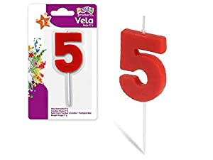 Party- Vela de cumpleaños numero 5, 5 x 3.5 cm, Color rojo (68029)
