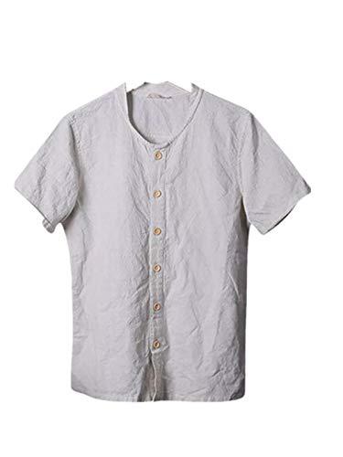 Zolimx Herren Hemd Kurzarm Leinenhemd, Sommer Männer Coole und dünne atmungsaktive Kragen hängen gefärbte Feste Baumwolle Shirt - Gefärbte Skinny Jeans