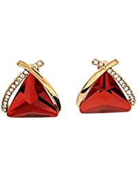 THE BLING STUDIO - Red Stone Diamond Stud Earrings.(BS7E60R)
