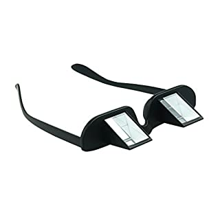 Asnlove Lazy Readers Lazy Glasses Horizontal Glasses Relax Glasses in Black Non-Magnetic Creative 90 Degree Angle Bed Prism Spectacles Glasses Read in Bed While Lying Flat (Overall width: about 150mm, Frame height: 30mm, Bridge: 18mm,Temple length : about 145mm)