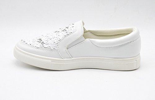 SHY28 * Baskets Tennis Sneakers Slip-On Simili Cuir Vernis avec Sequins Brillants et Semelle Compensée - Mode Femme Blanc