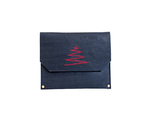 Paint Genuine Leather Navy Blue Small Envelope Bag