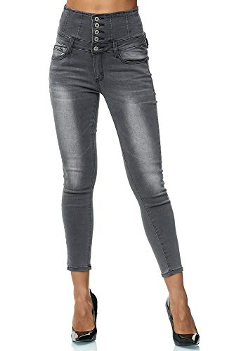 Elara Damen Stretch Hose | High Waist Jeans| Skinny | hoher Bund | Slim Fit | Chunkyrayan W177 Grau 40 (Stretch-jeans)