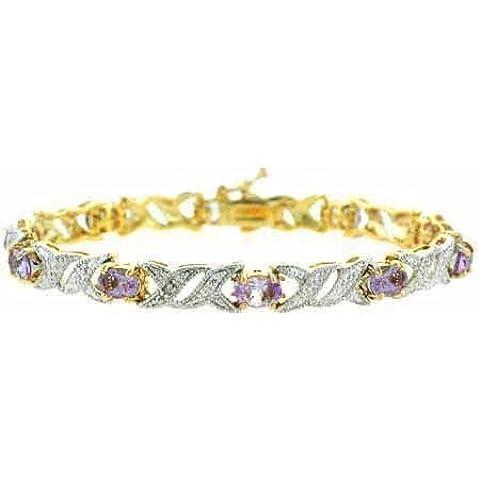 Oro, argento Sterling, ametista, diamante Accent &-Bracciale a doppia (Accent Diamante Bracciale)