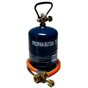 Gas-trennen (Gasflasche Propan Butan Gas 1 kg + Adapter + Umfüllschlauch Aktionsset Leer befüllbar)