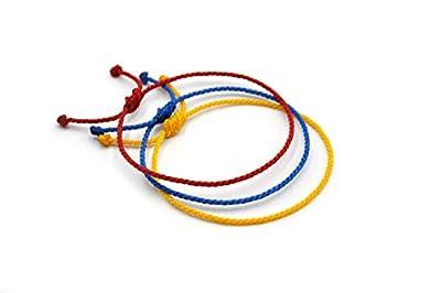 X3 Bracelets corde/fil Mix Rouge Bleu Jaune. Unisexe/Brésilien/Colombie/Vénézuela/Equateur. Fins cordons souples tressés main avec du fil ciré. Ajustable avec nœud coulissant. #X3H