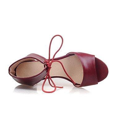 LvYuan Da donna Sandali Decolleté Vernice Estate Formale Serata e festa Decolleté Lacci Quadrato Nero Beige Rosso 2,5 - 4,5 cm ruby