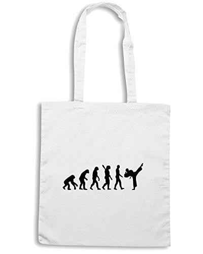 T-Shirtshock - Borsa Shopping OLDENG00067 evolution karate kickboxing Bianco