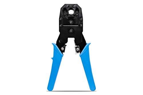 KnnX 28110 - Professionelle Hochleistungs-Ratschen-Crimpzange - Werkzeug für RJ45, RJ11, RJ10 - Abisolierzange - Kabelschneider