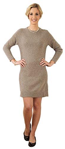 Modisches, sehr hochwertig verarbeitetes Damen Strickkleid,1/1-Arm, aus 100% feinstem Kaschmir. Farbe:Helltaupe Melange. Größe:38