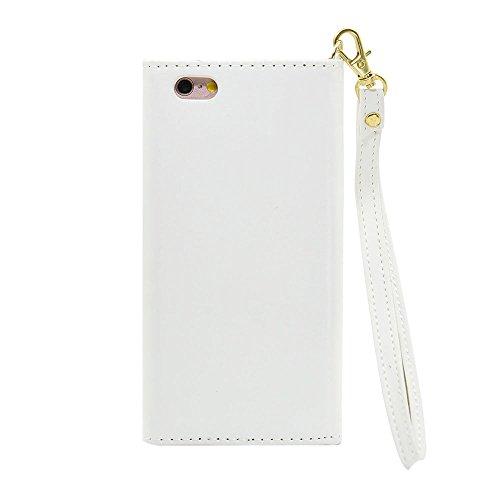 iPhone Case Cover Solid Color Case V Style Fermeture Enveloppe Patron PU Leather Wallet Case Avec Sangle De Main Pour IPhone 7 (4.7 Pouces) ( Color : Black , Size : IPhone 7 ) White