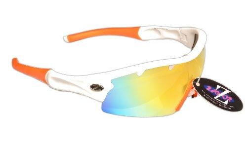 Rayzor Professionelle Leichte UV400 Weiß Sports Wrap Schifahren Sonnenbrille, mit einem orange Iridium Mirrored Blend Lens.
