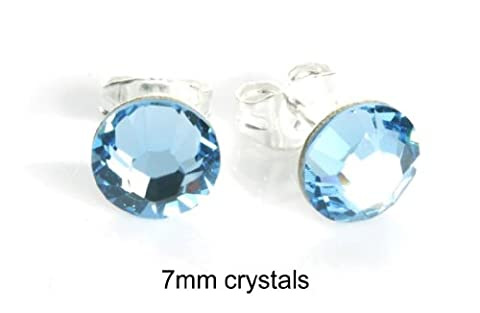 Sparkly 7mm Aquamarine Aqua Blue Sterling Silver Stud Earrings Made With SWAROVSKI ELEMENTS