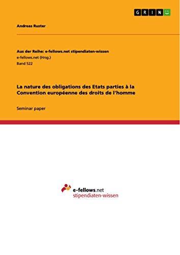 Livres gratuits La nature des obligations des Etats parties à la Convention européenne des droits de l'homme epub, pdf