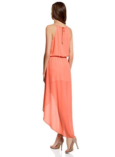 oodji Ultra Femme Robe en Tissu Léger avec Bas Asymétrique Rose (4300N)