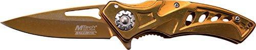 MTech USA Taschenmesser MT-A917 Serie, Messer DESIGNER LOCH OPTIK Griff, GOLD Design, scharfes Jagdmesser, Outdoormesser 6,99 cm ROSTFREI Klinge, Klappmesser für  Angeln/ Jagd