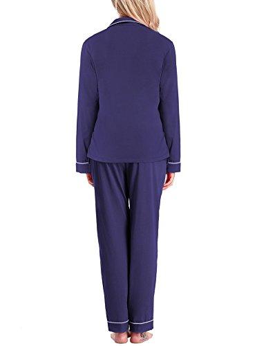 Yulee Damen Schlafanzug Gesäumtes Pyjama Classics Nachthemd und Hose Set in europäischen Größen Violett