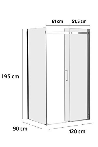 duschwand ecke CLP Duschkabine Phuket, Duschabtrennung, Eckduschkabine, Duschwand mit Nano-Beschichtung, 8 mm Sicherheitsglas, 120x90x195 cm