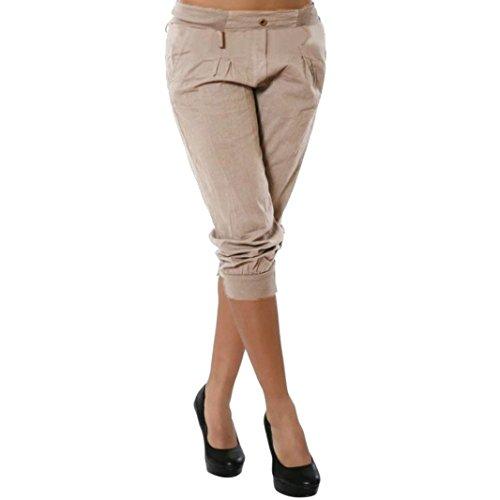 KEERADS Damen Capri Hosen Sommer Elegant Leicht Freizeithose Chino Hose(Ohne Gürtel) (44, Khaki)
