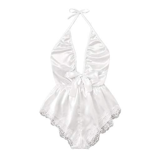 pyjamahose damen kariert,Frauen-V-Ausschnitt-Spitze-Fleck-Bogen-Wäsche-Bodysuit-Nachtwäsche-Pyjama-Silk Overall,Unterwäsche für Damen,Weiß,L -