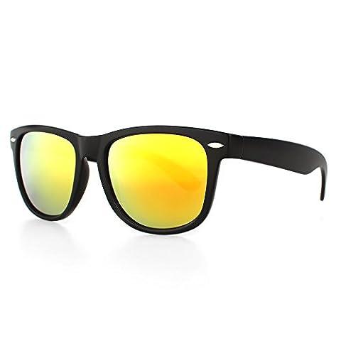 Distressed Blues Matt matte Sonnenbrille im Retro Wayfarer Stil 80er gold-rot-verspiegelt