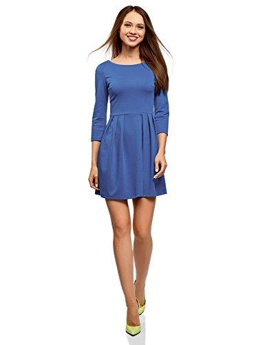oodji Ultra Damen Tailliertes Jersey-Kleid, Blau, DE 34 / EU 36 / XS