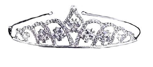 PICCOLI MONELLI Corona Hochzeit Strass Krone Diadema Tiara Haarreif Prinzessin Farbe Silber