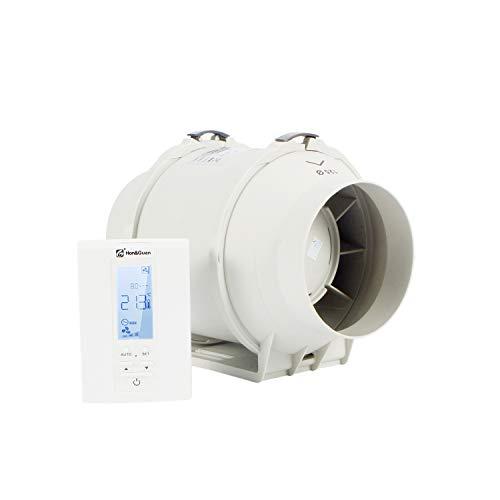 Hon&Guan Rohrventilator - Abluftventilator Badlüfter mit Hygrostat und Timer, Intelligenter Controller mit Drei Geschwindigkeitssteuerung (ø125mm)