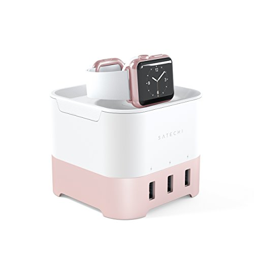 Satechi base di ricarica intelligente - stazione di ricarica 2 in 1 fitbit blaze stand di ricarica con 4 porte usb supporto per cellulari, apple watch 1, 2 e 3, iphone x, 8 plus, 8 e altri (oro rosa)