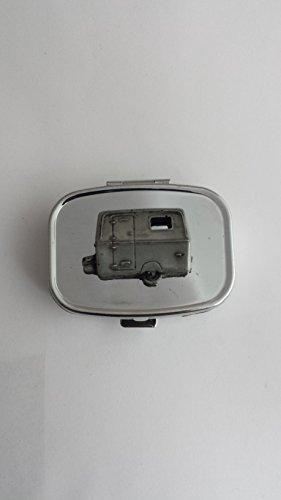 Caravan da turismo ref317effetto peltro emblema viaggio Argento in Metallo Rettangolare Portapillole
