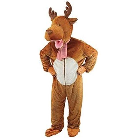 Costume da renna o alce adulto con grande testa in