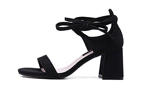 Wealsex sandalen damen blockabsatz Riemchen schuhe Schwarz