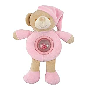 Duffi Baby- Peluche Sonajero Osito, 100% Poliéster, Color Rosa (Master Baby Home, S.L. 0754-06)