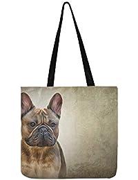 3ae49f0d6a28d Zeichnung Hund Französisch Bulldog Porträt Öl SHAOKAO SHAOKAO Canvas Tote  Handtasche Schultertasche Crossbody Taschen…