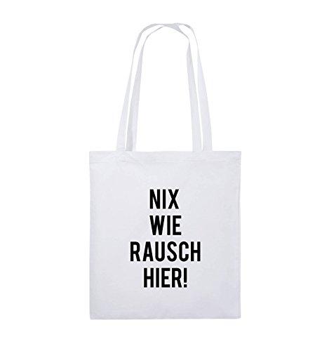 Comedy Bags - NIX WIE RAUSCH HIER! - Jutebeutel - lange Henkel - 38x42cm - Farbe: Schwarz / Pink Weiss / Schwarz