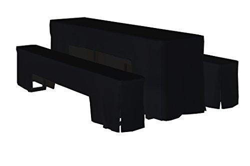 Dena 637026 Hussen-Set Arcade für Festzeltgarnitur, 100% Polyester, 220 x 70 cm, schwarz