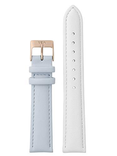 laVIIDA Uhrband LB-SVI2021R Ersatzband Uhrenarmband Leder 18 mm Weiß-Blau-Rosé