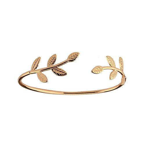 Aienid Schmuck Armband Damen Infinity Armreif 925 Vergoldet Blattform Offenes Design Gold