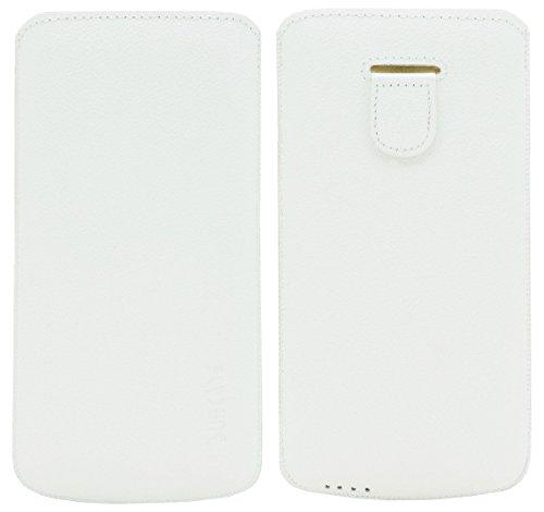Original Suncase Tasche für / iPhone 6 Plus (5.5 Zoll) / Leder Etui Handytasche Ledertasche Schutzhülle Case Hülle (Lasche mit Rückzugfunktion) (UVP 14.90€) vollnarbig-rot vollnarbig-weiss