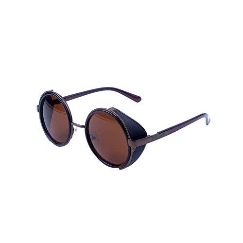 Ogquaton Retro Steampunk Style Sonnenbrille Round Metal Circle Polarisierte Sonnenbrille Vintage Small Mirror Glasses UV-Schutzbrille für Frauen Light Golden Frame Langlebig und praktisch