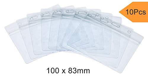 Fushing 10PCS durchsichtig ID Badge Card Plastik Pocket Tasche Holder Ausweiskartenhalter Beutel Ausweishülle Kartenhalter Badgeholder Wasserdicht Kunststoff Namensschild Halter Name Tag Badge